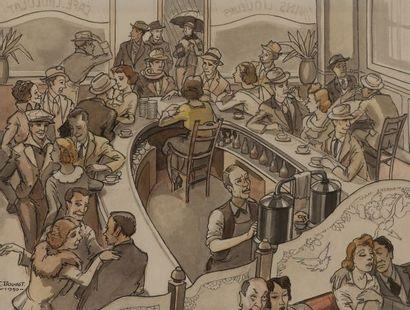 F. BOUDOT. Scènes de café. Deux encres, aquarelle...
