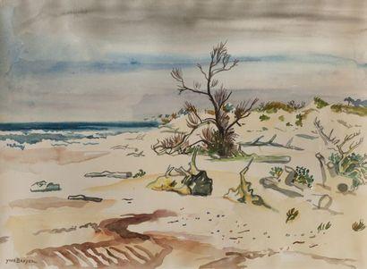 Yves BRAYER (1907-1990) Plage. Aquarelle...