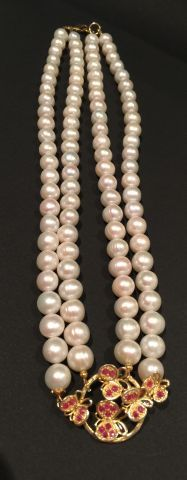 Collier double rangs de perles de culture...