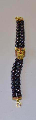 Bracelet panthère, orné de perles de culture...