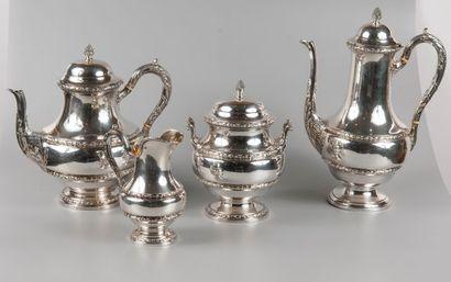 Service à thé, café de quatre pièces en argent...