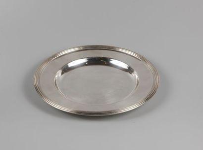 CHRISTOFLE Plat rond en métal argenté, modèle...