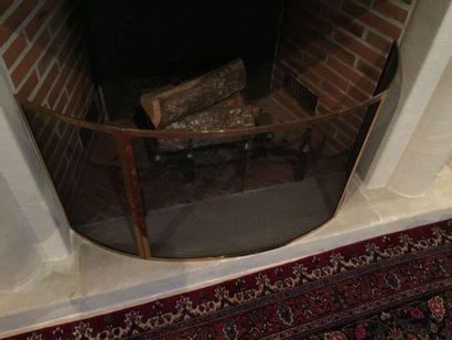 Nécessaire de cheminée en laiton et pare...