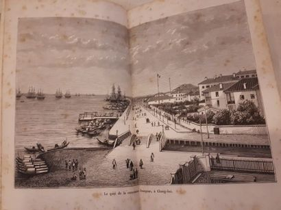 Théodore SIMONS. L'Espagne. 1881, Grand folio demi-chagrin usé. Gravures. Gaston...