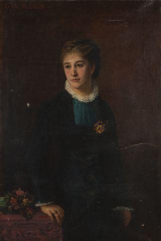 Portrait de femme Huile sur toile signée...
