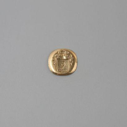 Plaque de sceau de chevalière en or 750 °/°°....