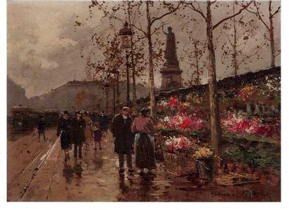 """Edouard CORTES """"Marché aux fleurs"""" Huile sur toile 24,5 x 33 cm"""