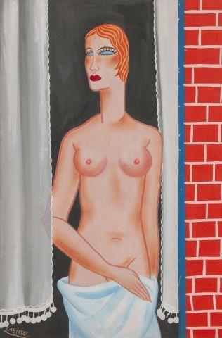 Félix LABISSE (1905-1982) Jeune femme à la douche Aquarelle signée en bas à gauche....