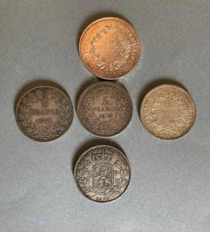 Lot de pièces de monnaie en argent :  une...