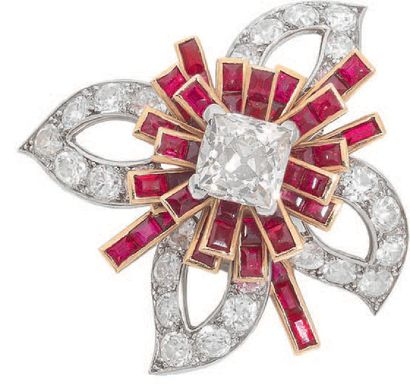 CARTIER Pair of flower-shaped ear clips composed of calibrated ruby and diamond lines...