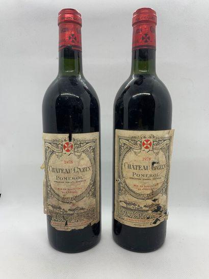 2 bouteilles de Château GAZIN Pomerol 1978,...