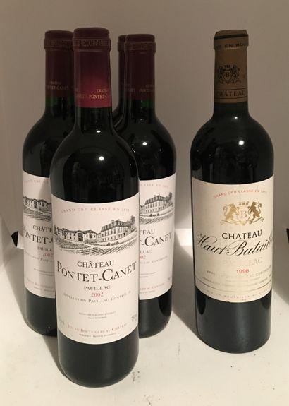6 bouteilles dont 5 Château PONTET-CANET,...