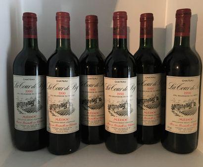 12 bottles of Château LA TOUR DE BY Médoc 1990, 6 base neck, 1 very slightly low,...