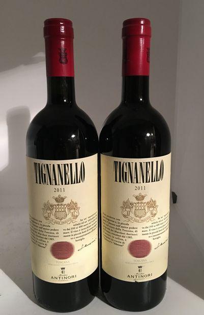 2 bouteilles de TOSCANA TIGNANELLO 2011 d'Antinori,...