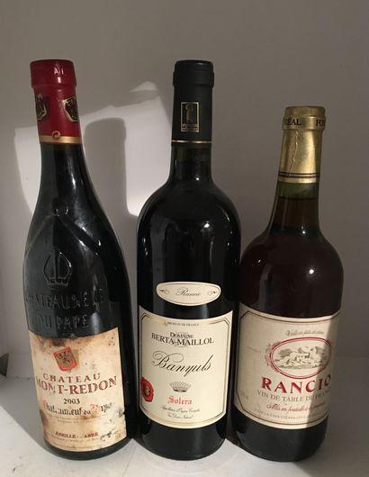 3 bouteilles dont 1 CHÂTEAUNEUF-DU-PAPE 2003...