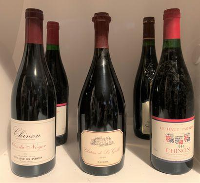 6 bouteilles dont 4 CHINON, 1 Le Haut Paradis...