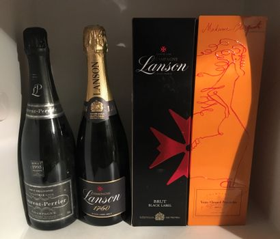 4 bottles of CHAMPAGNE including 2 LANSON Black Label, 1 in its box, 1 LAURENT-PERRIER...