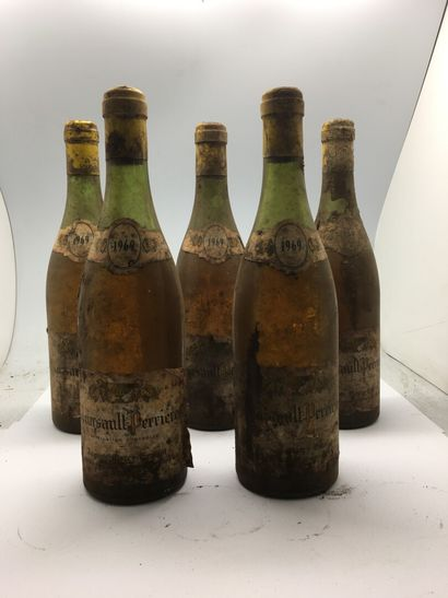 5 bouteilles de MEURSAULT-PERRIERES 1969...