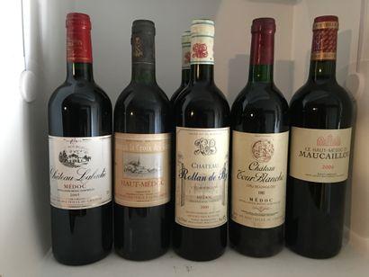 12 bouteilles dont 1 Château LA TOUR CARNET Haut-Médoc 1993, 1 de Château LESTAGE...