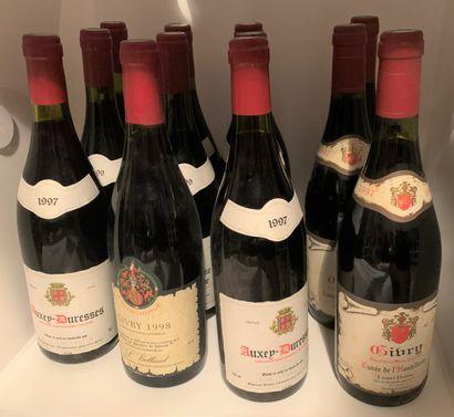 12 bouteilles dont 3 AUXEY-DURESSES 1997...