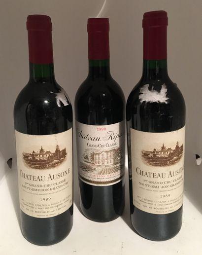 3 bouteilles dont 2 Château AUSONE, 1er Grand...