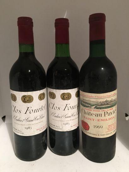 3 bouteilles dont 2 CLOS FOURTET Saint-Emilion...