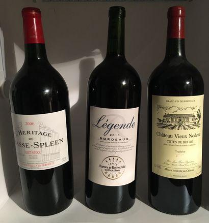 3 magnum dont 1 Héritage de CHASSE-SPLEEN Haut-Médoc 2006, 1 Légende Bordeaux 2010...