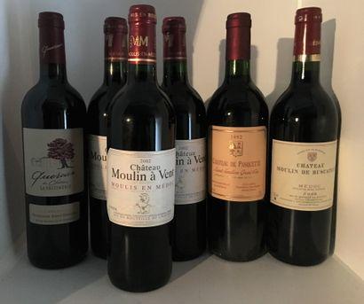 12 bottles including 3 Château MOULIN A VENT, Moulis en Médoc 2002, 2 Château CHARDENNE...