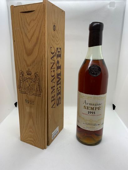 1 bottle ARMAGNAC Sempé 1955 in its original wooden box, very slightly low