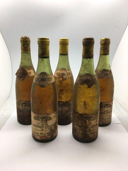 5 bouteilles de MEURSAULT-PERRIERES 1964...