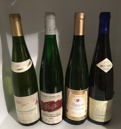 12 bottles including 2 ALSACE GRAND CRU, 1 Hengst Gewürztraminer 2001 from Freuburger,...