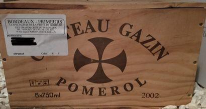 6 bouteilles de Château GAZIN Pomerol 2002...