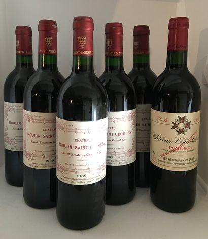 6 bouteilles dont 1 Château CHANTALOUETTE...