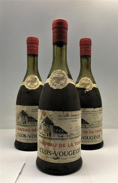 3 bouteilles de Clos Vougeot Château De...