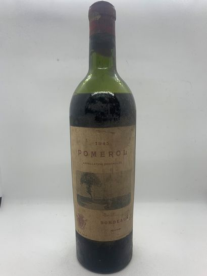 2 bottles including 1 POMEROL 1943, low-shoulder, faded and dirty label, corroded...