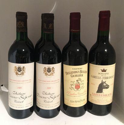 6 bouteilles dont 4 Château BEAU-SEJOUR-BECOT, Saint-Emilion Grand Cru 1989, 3 base-goulot,...