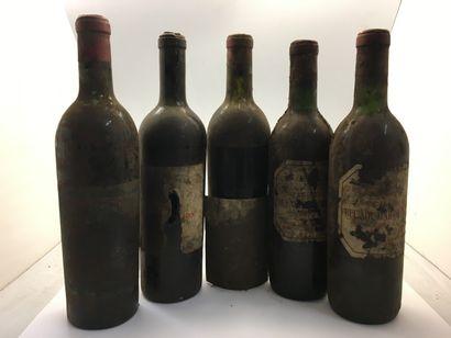 5 bouteilles dont 2 Château BEL AIR MARQUIS...