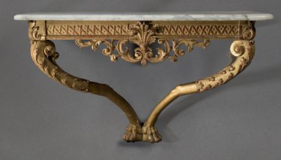 Gilded wood console, the belt is openwork...