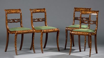 Suite of four chairs with flower marquetry...