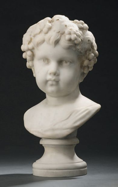 Bust of child-Bacchus in white marble. 19th...