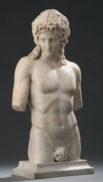 Figure of Antinous in white marble in the...