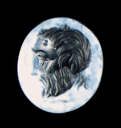 Intaille ovale plate gravée d'un profil de...