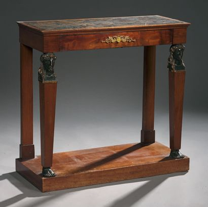 Console table in mahogany and blackened wood, the top in red marble from Flanders...