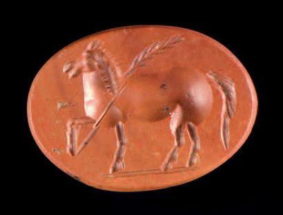 Intaille ovale et plate gravée d'un cheval...