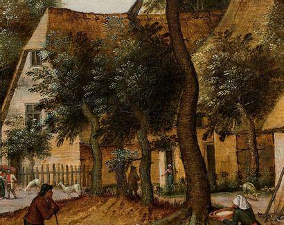 Pieter II BRUEGHEL dit BRUEGHEL le JEUNE (Bruxelles 1564-Anvers 1638) Le repas des...