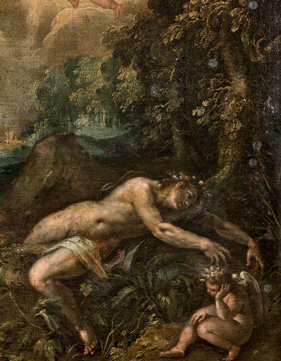 Ludovico POZZOSERRATO (c.1550-c.1603) La mort d'Adonis Sur sa toile d'origine. 94...