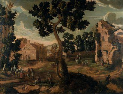 Ecole Italienne du XVIIIe siècle Scène de village Toile. 96 x 124 cm Sans cadre....