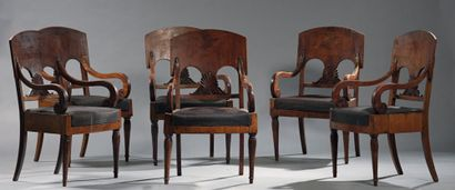 Suite of six walnut armchairs, with openwork...