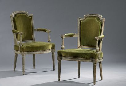 Pair of painted beechwood armchairs with...