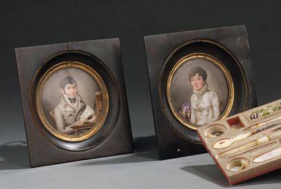 Two painted porcelain pendant miniatures...